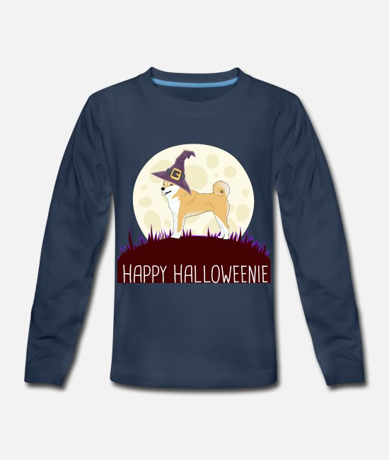 I Love Dad Quotes Long-Sleeved Shirts - Shiba Inu Happy Halloweenie gift i - Kids' Premium Longsleeve Shirt navy