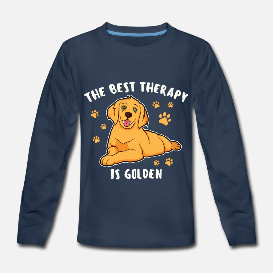 Retriever T-Shirts - The Best Therapy Is Golden Retriever Dog Saying - Kids' Premium Longsleeve Shirt navy