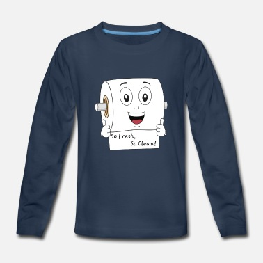 Janitor Toilet Paper Character - so fresh, so clean - Kids' Premium Long Sleeve T-Shirt