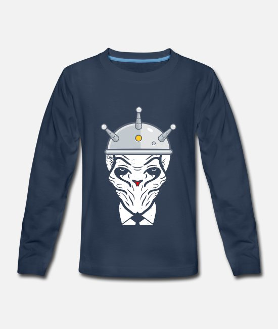 Space Long-Sleeved Shirts - Alien Brainwashing Brain Washed Birthday T Shirt - Kids' Premium Longsleeve Shirt navy