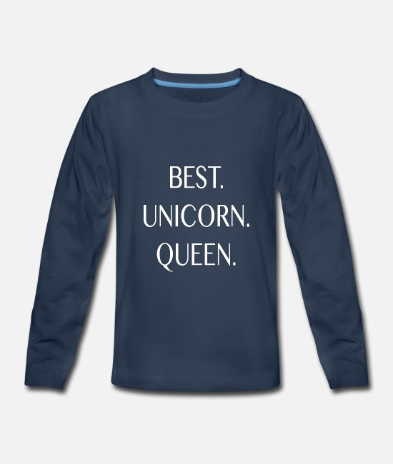 Unicorn Long-Sleeved Shirts - Best Unicorn Queen in The World Birthday Gift Love - Kids' Premium Longsleeve Shirt navy