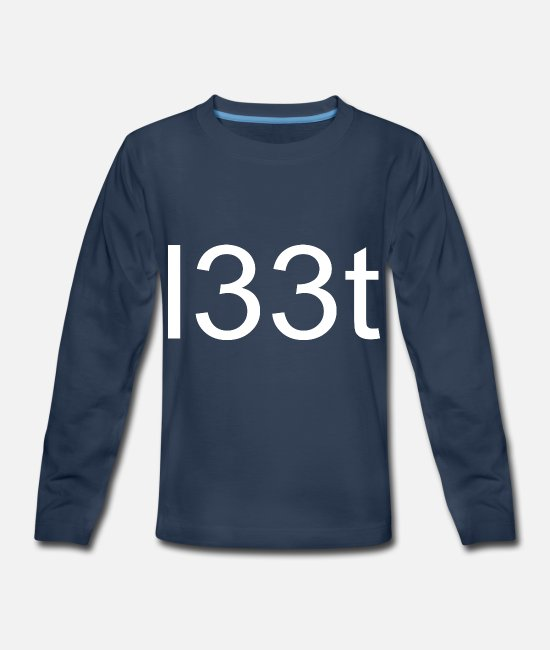 Noob Long-Sleeved Shirts - l33t leet Leet Geek Gamer Noob Nerd Birthday Tee - Kids' Premium Longsleeve Shirt navy