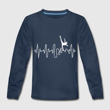Heartbeat Ice Skating Line Graphics Pulse - Kids' Premium Long Sleeve T-Shirt