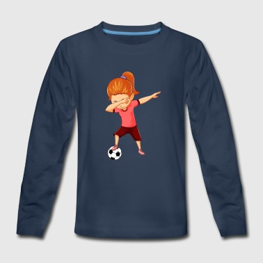 Soccer Girls Funny Dabbing Dance Soccer Ball - Kids' Premium Long Sleeve T-Shirt