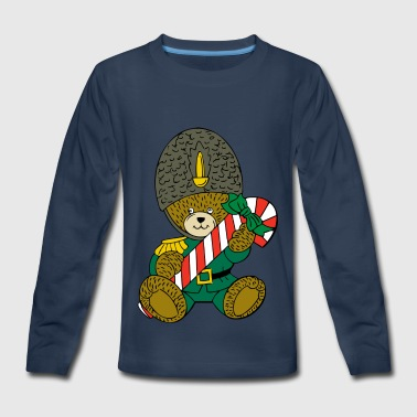 Christmas Teddy with a candy cane :) - Kids' Premium Long Sleeve T-Shirt