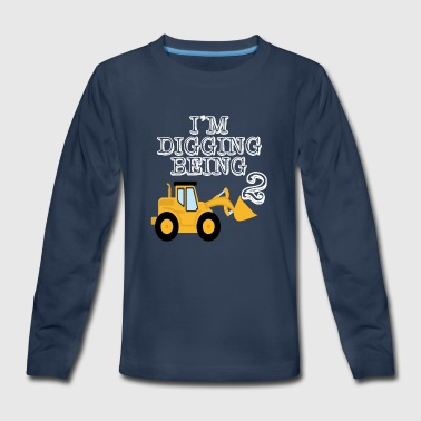 2nd Birthday Bulldozer Construction - Kids' Premium Long Sleeve T-Shirt