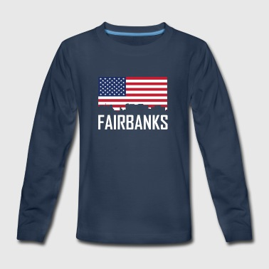 Fairbanks Alaska Skyline American Flag - Kids' Premium Long Sleeve T-Shirt
