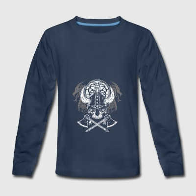 viking skull with dragons - Kids' Premium Long Sleeve T-Shirt