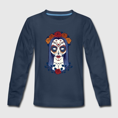 sugar_skull_face_girl - Kids' Premium Long Sleeve T-Shirt