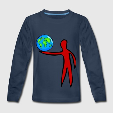 globus planet erde earth kontinente continents134 - Kids' Premium Long Sleeve T-Shirt