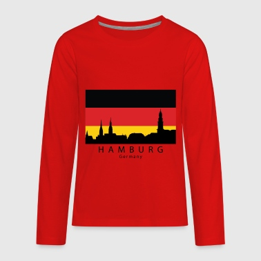 Hamburg Germany Skyline German Flag - Kids' Premium Long Sleeve T-Shirt