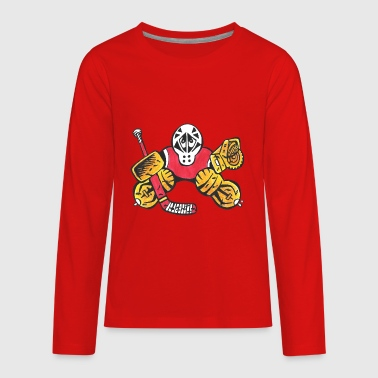 Hockey Mask Kids SMALL SAVES the Hockey Goalie - Kids' Premium Long Sleeve T-Shirt
