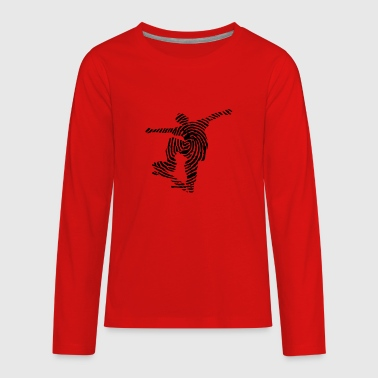 Skater Fingerprint - Skate-Skateboarder-Sport Gift - Kids' Premium Long Sleeve T-Shirt