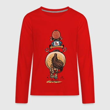Thelwell Funny Riding Beginner Illustration - Kids' Premium Long Sleeve T-Shirt
