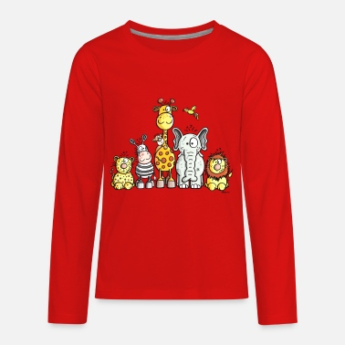 Zoo Animal Happy African Animal Team - Kids' Premium Long Sleeve T-Shirt