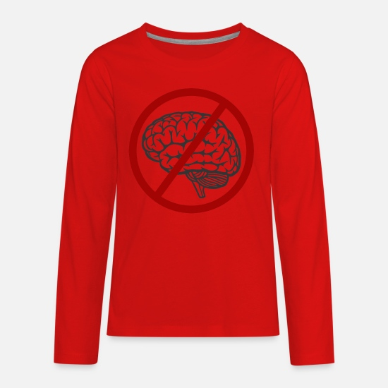 Idiocracy T-Shirts - Idiocracy No Brain - Kids' Premium Longsleeve Shirt red