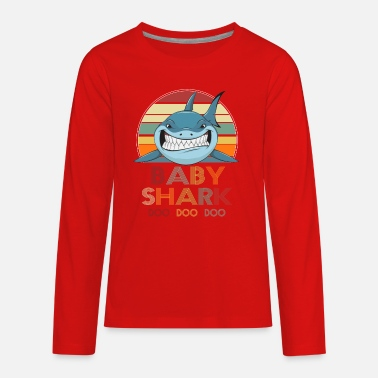 Retro Retro Vintage Baby Shark Tshirt gift for Father - Kids' Premium Longsleeve Shirt