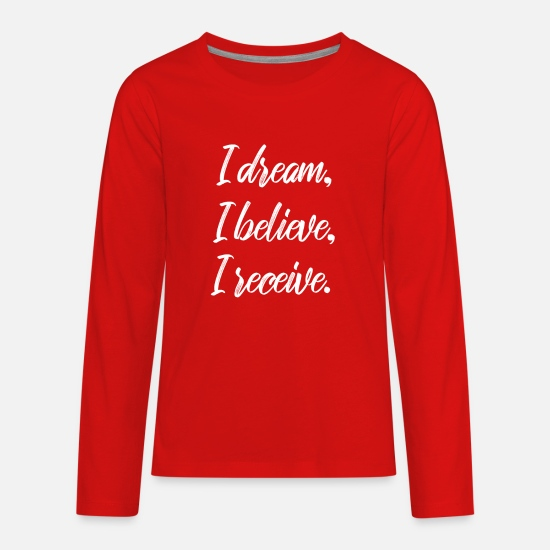 Gift Idea Long-Sleeve Shirts - Law Of Attraction Believe Receive - Kids' Premium Longsleeve Shirt red