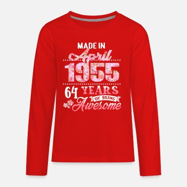 Born in April 1955 Floral T shirt 64th Birthday Gi - Kids' Premium Longsleeve Shirt