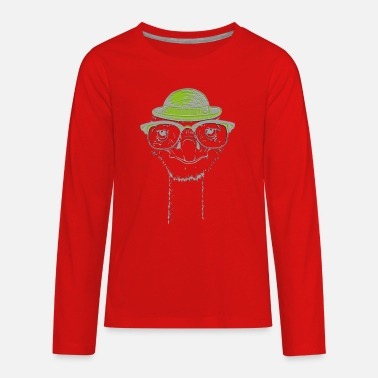 Ostrich with hat and glasses cute animal - Kids' Premium Longsleeve Shirt