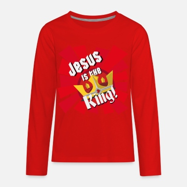 Kings Kid Jesus is the King (Kids) - The Armoury Boardgame - Kids' Premium Long Sleeve T-Shirt