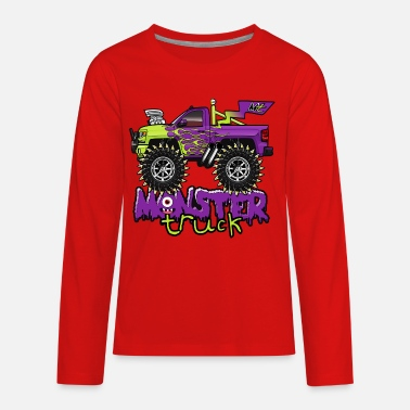 Monster Truck Cartoon Monster - Kids' Premium Long Sleeve T-Shirt