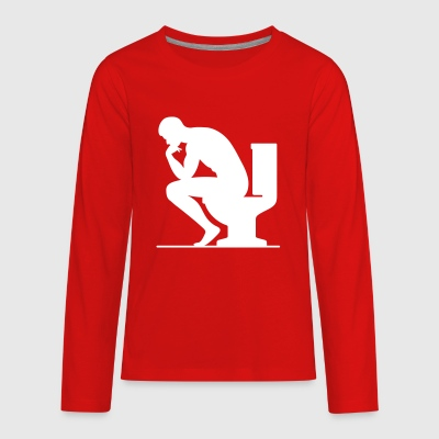 A Man Sitting On The Toilet - Kids' Premium Long Sleeve T-Shirt