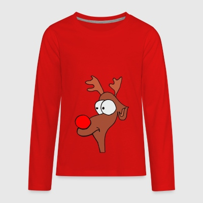 Reindeer Christmas XMAS with red Nose - Kids' Premium Long Sleeve T-Shirt
