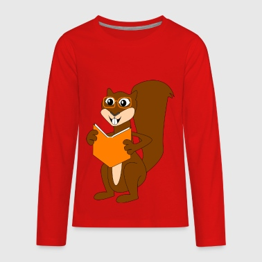 reading squirrel - Kids' Premium Long Sleeve T-Shirt