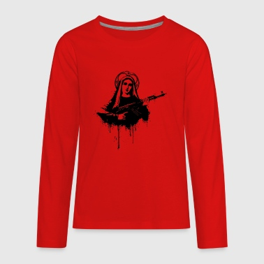 Virgin Mary with Kalashnikovs AK47 - Kids' Premium Long Sleeve T-Shirt