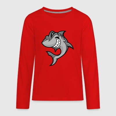 funny_cartoon_shark - Kids' Premium Long Sleeve T-Shirt