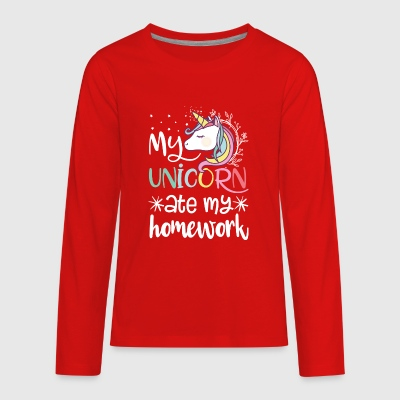 My Unicorn Ate My Homework - Kids' Premium Long Sleeve T-Shirt