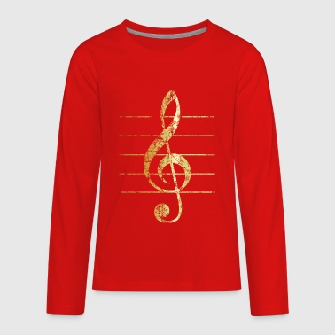 G-Clef - Treble Clef - Sheet Lines (Ancient Gold) - Kids' Premium Long Sleeve T-Shirt