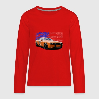Dodge Challenger RT America Muscle Car Shirt - Kids' Premium Long Sleeve T-Shirt