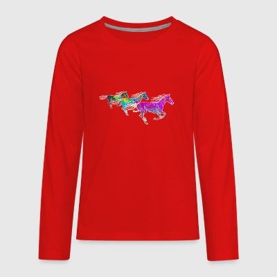 horse, funny horses - Kids' Premium Long Sleeve T-Shirt