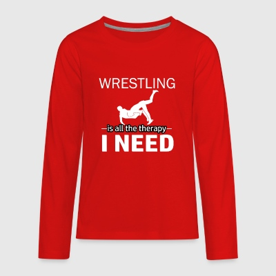 Wresting is my therapy - Kids' Premium Long Sleeve T-Shirt
