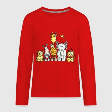 Happy African Animal Team - Kids' Premium Long Sleeve T-Shirt