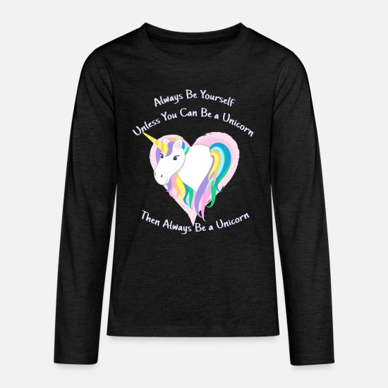 Yourself Long-Sleeve Shirts - Cute Pastel Rainbow Unicorn - Always be Yourself - Kids' Premium Longsleeve Shirt charcoal gray