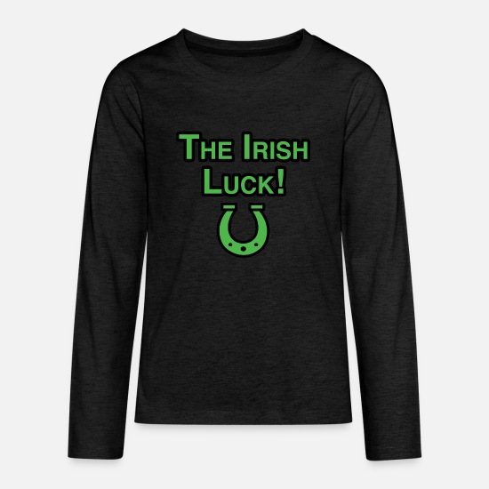 Luck T-Shirts - The Irish Luck - Kids' Premium Longsleeve Shirt charcoal gray