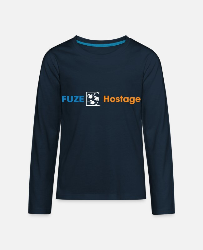 Hostage Long-Sleeved Shirts - Fuze over hostage funny multiplayer rainbow six si - Kids' Premium Longsleeve Shirt deep navy