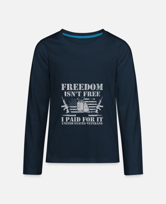 Vietnam Long-Sleeved Shirts - US Army Vietnam Iraq Combat Veteran - Kids' Premium Longsleeve Shirt deep navy