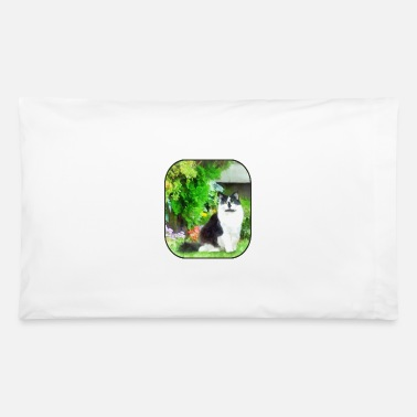 Black and White Cat by Flowers - Pillowcase 32'' x 20''