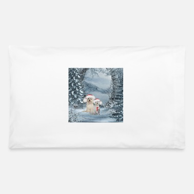 Animal Christmas, cute dog and squirrel with christmas ha - Pillowcase 32'' x 20''