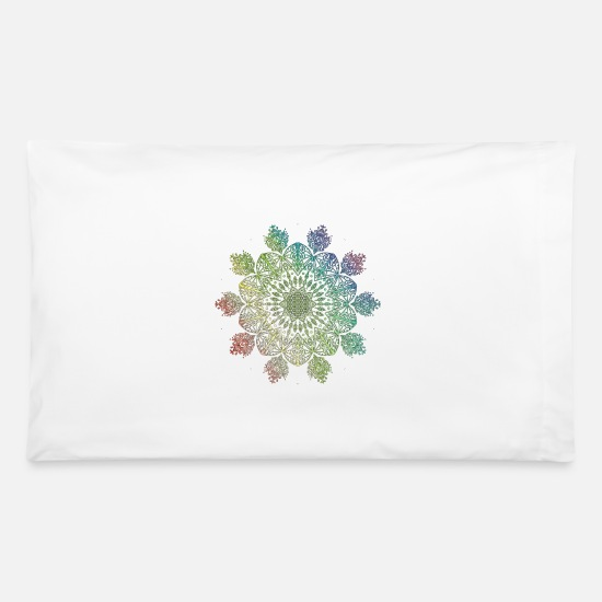 Rainbow Flag Pillow Cases - Rainbow flower of life mandala gift idea - Pillowcase 32'' x 20'' white