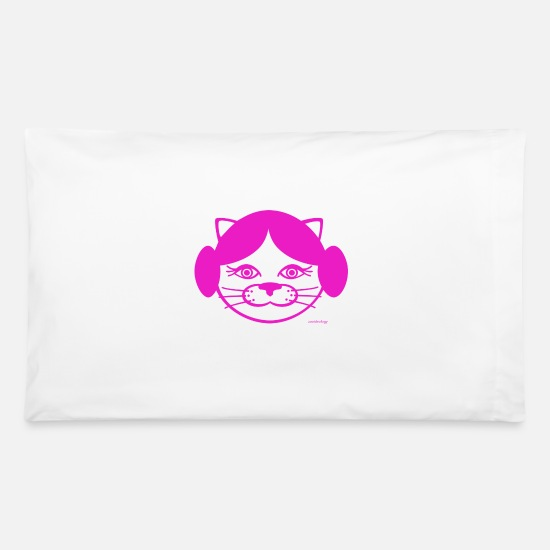 Kitty Cat Pillow Cases - Kitty Leia - Pillowcase 32'' x 20'' white