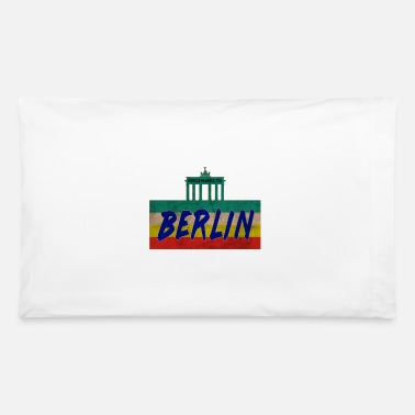 Alexanderplatz Berlin Vintage Design with Brandenburg Gate / Gift - Pillowcase 32'' x 20''