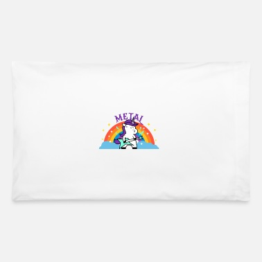 Iron Metal METAL RAINBOW BAND FUNNY UNICORN IRONIC - Pillowcase 32'' x 20''