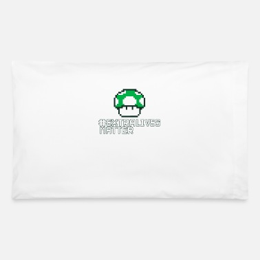 Extra Lives Matter | Geek Gamer 1Up Mushroom - Pillowcase 32'' x 20''