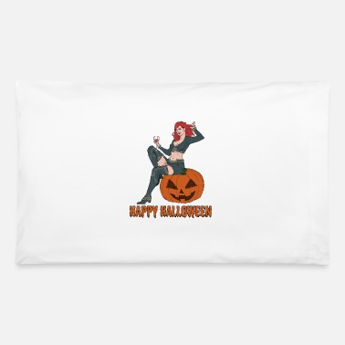 Sexy Halloween Women Vampire Sitting on a Pumpkin - Pillowcase