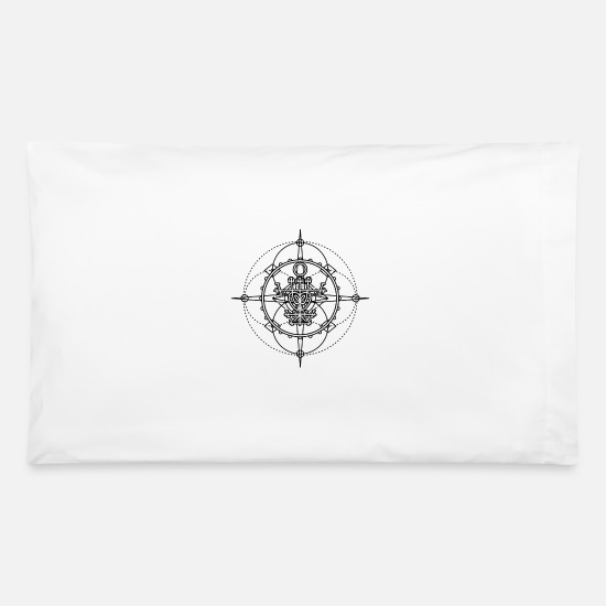 Old seal, talisman - protection from evil spirits Pillowcase 32'' x 20'' -  white